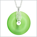 Large Celtic Shield Knot Protection Powers Amulet Green Simulated Cats Eye Donut Pendant 18 Inch Necklace