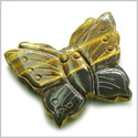Amulet Tiger Eye Butterfly Gemstone Carving Healing and Evil Eye Powers Pocket or Desk Totem Good Luck Charm with Pouch