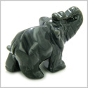 Amulet Black Onyx Elephant Gemstone Carving Spiritual Protection Powers Pocket or Desk Totem Good Luck Charm with Pouch