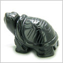 Amulet Black Onyx Turtle Gemstone Carving Spiritual Protection Powers Pocket or Desk Totem Good Luck Charm with Pouch