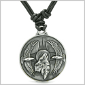 Amulet Howling Wolf and Eagles Wild Moon Powers Charm Pendant on Adjustable Leather Cord Necklace