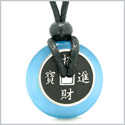 Amulet Lucky Coin Charm Donut Sky Blue Simulated Cats Eye Magic Spiritual Powers Adjustable Necklace