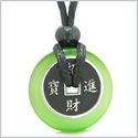 Amulet Lucky Coin Charm Donut Neon Green Simulated Cats Eye Magic Spiritual Powers Adjustable Necklace