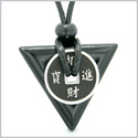 Amulet Lucky Coin Charm Triangle Pyramid Powers Black Agate Spiritual Good Luck Energy Pendant Necklace