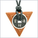 Amulet Lucky Coin Charm Triangle Pyramid Powers Red Jasper Spiritual Good Luck Energy Pendant Necklace
