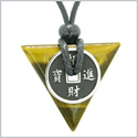 Amulet Lucky Coin Charm Triangle Pyramid Powers Tiger Eye Spiritual Good Luck Energy Pendant Necklace