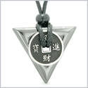 Amulet Lucky Coin Charm Triangle Pyramid Powers Hematite Spiritual Good Luck Energy Pendant Necklace