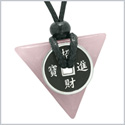 Amulet Lucky Coin Charm Triangle Pyramid Powers Rose Quartz Love Good Luck Energy Pendant Necklace