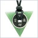 Amulet Lucky Coin Charm Triangle Pyramid Powers Green Quartz Spiritual Good Luck Energy Pendant Necklace
