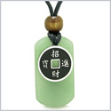 Amulet Lucky Coin Charm Green Quartz Tag Spiritual and Good Luck Powers Pendant Adjustable Necklace