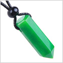 Amulet Green Quartz Crystal Point Protection and Magic Powers Wand Pendant on Adjustable Cord Necklace