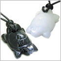 Double Lucky Turtles Love Couples or Best Friends Set Amulets Positive Energy Powers Black Onyx White Jade Gemstones Necklaces