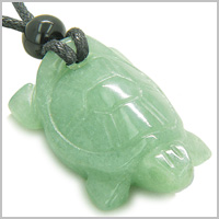 Amulet Lucky Charm Turtle Green Aventurine Gemstone Good Luck Powers Hand Carved Pendant on Adjustable Cord Necklace
