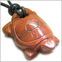 Amulet Lucky Charm Turtle Red Jasper Gemstone Good Luck and Will Powers Hand Carved Pendant on Adjustable Cord Necklace