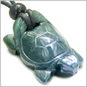 Amulet Lucky Charm Turtle Indian Green Agate Gemstone Good Luck Powers Hand Carved Pendant on Adjustable Cord Necklace