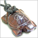 Amulet Lucky Charm Turtle Red Tiger Eye Gemstone Evil Eye Protection Powers Hand Carved Pendant on Adjustable Cord Necklace