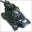 Amulet Lucky Charm Turtle Black Onyx Gemstone Spiritual Protection Powers Hand Carved Pendant on Adjustable Cord Necklace