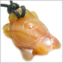 Amulet Lucky Charm Turtle Carnelian Gemstone Evil Eye Protection Powers Hand Carved Pendant on Adjustable Cord Necklace