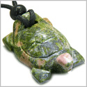 Amulet Lucky Charm Turtle Unakite Gemstone Spiritual Protection Powers Hand Carved Pendant on Adjustable Cord Necklace