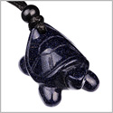 Amulet Lucky Charm Turtle Blue Goldstone Good Luck Powers Hand Carved Pendant on Adjustable Cord Necklace