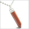 Amulet Crown Bail Red Jasper Crystal Point Natural Energy Believe Powers Powers Pendant on 18� Stainless Steel Necklace