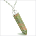 "Amulet Crown Bail Unakite Crystal Point Natural Energy Spiritual Protection Powers Pendant on 18"" Stainless Steel Necklace"