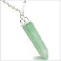 Amulet Crown Bail Green Aventurine Crystal Point Natural Energy Good Luck Powers Pendant on 18� Stainless Steel Necklace
