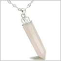 "Amulet Crown Bail Rose Quartz Crystal Point Natural Energy Love Powers Pendant on 18"" Stainless Steel Necklace"