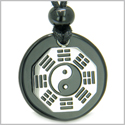 Yin Yang BA GUA Eight Trigrams Amulet Black Onyx Magic Gemstone Stainless Steel Circle Spiritual Powers Pendant Necklace