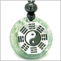 Yin Yang BA GUA Eight Trigrams Amulet Green Moss Agate Magic Gemstone Stainless Steel Circle Good Luck Powers Pendant Necklace