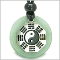 Yin Yang BA GUA Eight Trigrams Amulet Green Aventurine Magic Gemstone Stainless Steel Circle Good Luck Powers Pendant Necklace
