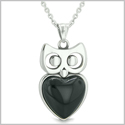 "Amulet Owl Cute Heart Lucky Charm Positive Energy Faux Black Onyx Pendant on 18"" Necklace"