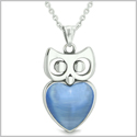 "Amulet Owl Cute Heart Lucky Charm Positive Energy Star Blue Cat&#39s Eye Pendant on 18"" Necklace"