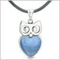Amulet Owl Cute Heart Lucky Charm Positive Energy Star Blue Cat&#39s Eye Pendant Leather Necklace