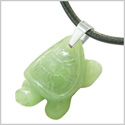 Amulet Turtle Cute Lucky Charm Healing Protection Powers Green Quartz Pendant Leather Necklace