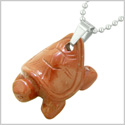 Amulet Turtle Cute Lucky Charm Healing Protection Powers Red Jasper Pendant 18 Inch Necklace