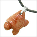 Amulet Turtle Cute Lucky Charm Healing Protection Powers Red Jasper Pendant Leather Necklace