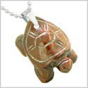 Amulet Turtle Cute Lucky Charm Healing Protection Powers Red Tiger Eye Pendant 18 Inch Necklace