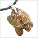 Amulet Turtle Cute Lucky Charm Healing Protection Powers Red Tiger Eye Pendant Leather Necklace