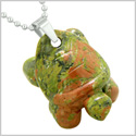 Amulet Turtle Cute Lucky Charm Healing Protection Powers Unakite Pendant 18 Inch Necklace