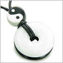 Amulet Double Lucky Yin Yang Donuts in White Jade and Black Onyx Gemstones Spiritual and Good Luck Powers Magic Circle Necklace