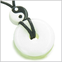 Amulet Double Lucky Yin Yang Donuts in White and Green Jade Gemstones Evil Eye Protection Good Luck Powers Magic Circle Necklace