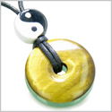 Amulet Double Lucky Yin Yang Donuts Tiger Eye Green Aventurine Gemstones Evil Eye Protection Money Powers Magic Circle Necklace