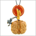 Double Dragon Car Charm or Home Decor Carnelian Lucky Coin Donut Magic Protection Powers Amulet