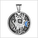 Unity Amulet Deer Family Wild Woods and Moon Powers Simulated Turquoise Chips Pendant