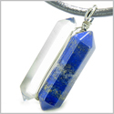 Individual Amulet Double Wand Crystal Point Lapis Lazuli and Rock Quartz Gemstones Pendant Silver Necklace