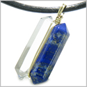 12K Gold Individual Amulet Double Wand Crystal Point Lapis Lazuli and Rock Quartz Gemstones Pendant Necklace