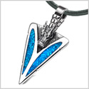 Arrowhead Courage Dragon Head Magic Powers Protection Amulet Simulated Turquoise Pendant Leather Necklace