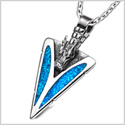 Arrowhead Courage Dragon Head Magic Powers Protection Amulet Simulated Turquoise Pendant 18 Inch Necklace