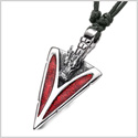 Arrowhead Courage Dragon Head Magic Powers Protection Amulet Sparkling Royal Red Adjustable Necklace